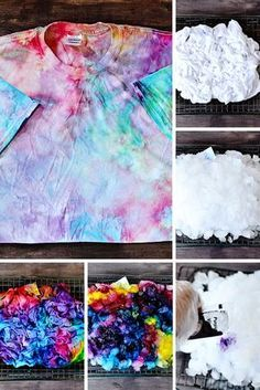 Did you know you can tie dye with ICE? This tie dye pattern and technique is so easy and produces a beautiful result.