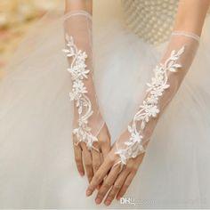 De Noiva Hot Marfim Branco O Laço Nupcial Flor Luvas Diamante Broto De Seda Bordado Jóias Casamento