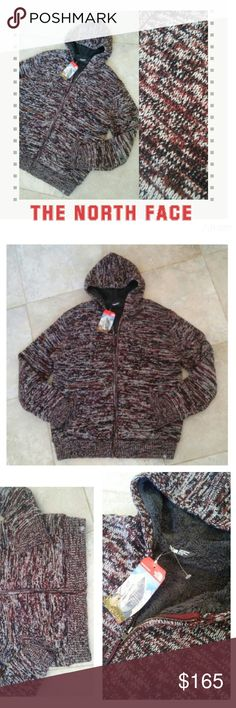{The North Face} Twisted Ridge sequoia red zip up 🍻🍻🍻HOST PICK🍻🍻🍻  New with tags! The North Face  Twisted Ridge Full Zip Sweater  Sequoia Red  knit hoodie with full-body Sherpa lining Heavy duty (3 GG) tri-color, marled yarn Antiqued brass front zip with TNF? logo Ribbed hem, cuffs and pocket welts Clip label on front hem Size XL  MSRP $165  pictures don't do this zip up hoodie justice! The North Face Shirts Sweatshirts & Hoodies