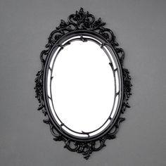Vintage Black Syroco Mirror  Ornate Floral Oval  by TheCherryAttic