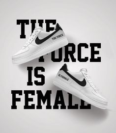 The Force Is Female. Inspired by rule breakers and statement makers. Customize the Nike Air Force 1 Low iD in black and white.