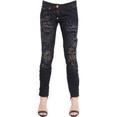 Philipp Plein Women Embellished & Destroyed Denim Jeans