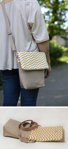Gold chevron cotton messenger colorful cotton crossbody bag woman everyday purse handmade medium messenger