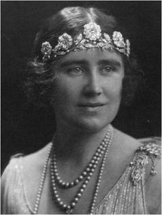 Lady Elizabeth Bowes-Lyon (the future Queen Elizabeth, the Queen Mother) wearing the Strathmore Rose Tiara.