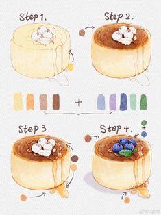 Watercolor Art Lessons, Watercolor Food, Watercolor Drawing, Cute Food Drawings, Art Drawings Sketches Simple, Food Art Painting, Desserts Drawing, Dessert Illustration, Cute Food Art