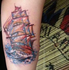 Sketch+Style+Ship+Tattoo+by+Ael+Lim