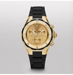 Tahitian Jelly Bean Large Black Gold Tone Dial  Tahitian Jelly Beans by Michele feature a dose of playful luxury in an irresistible range of colors. With a chronograph movement and a sporty strap and bezel, these timepieces are as undeniably fun as they are luxurious.