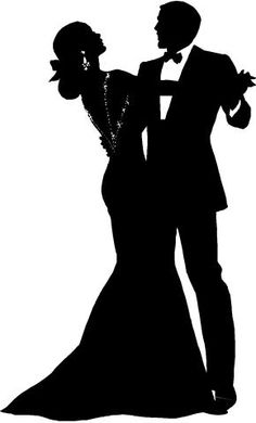 Couple in love dancing Silhouette