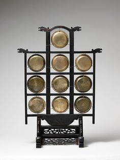 Frame Height: 28 in. Width: 16 in. of largest gong: 4 in. The Metropolitan Museum of Art, New York, The Crosby Brown Collection of Musical Instruments, 1889 a) Chinese Element, Chinese Art, Chinese Style, Chinese Icon, Traditional Chinese, Musica Celestial, Virtual Museum, Sound Healing, Qing Dynasty