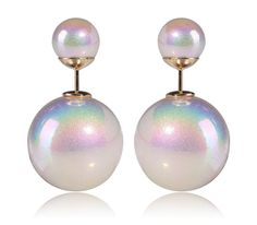 TwinkleJewel Shining-White Double Sided Faux Pearl MISE en Tribal Earrings #Twinkle #StudEarring