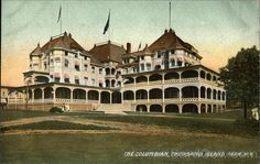 """Eight lamps sat across the ornate desk, casting a yellow-orange glow in the shadowed recess of the long room. When in full operation, each bulb threw light upon the face of a hotel staff stationed and waiting to welcome arriving guests. Bell boys with short jackets and tiny hats buckled beneath their chins had been hired to load the large state-of-the-art freight elevator with luggage dollies destined for the floors above."" Wolfe Island. giuliatorre.com/books"