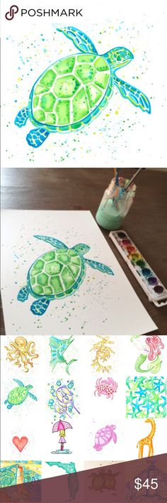 SALE! Sea Turtle Watercolor Print - 8x10 Vibrant green sea turtle print. Part of the Go Coastal Studios sea life series in Palm Beach. This is a limited edition 8 x 10 watercolor print comes ready to frame.  You will love this gorgeous artwork for yourself or a gift to a friend! Go Coastal Studios Other
