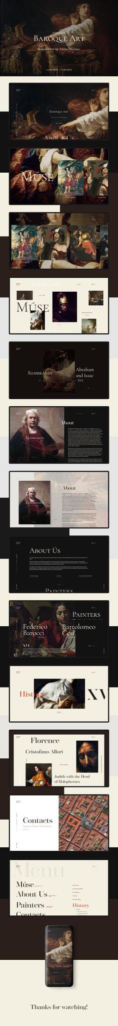 Göteborg Gallery (Baroque Art) on Behance Web Layout, Layout Design, Website Layout, Art Web, Baroque Art, Ui Ux Design, Graphic Design, Web Design Inspiration, Design Ideas