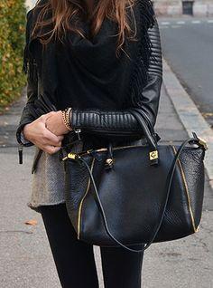 Love this monochromatic look. Versatile handbag w/long or short strap