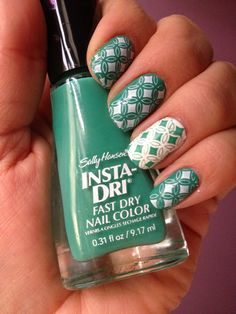 Sally Hansen Insta-Dri in Mint Sprint with accent nail Sally Hansen Xtreme Wear in White On. Konad stamp #S6 ... I love doing nails!