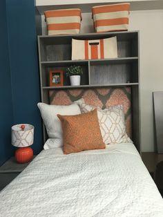 Dorm bed with headboard and storage. Auburn University Quad Dorm.