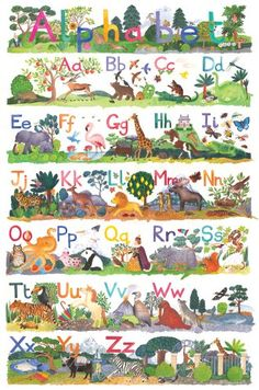 cool Animal ABC Poster by Claire Winteringham - Giant Size: 100 x 75cm (30 x 40 inches) Check more at http://pixeldome.co.uk/shop/toys-and-games/animal-abc-poster-by-claire-winteringham-giant-size-100-x-75cm-30-x-40-inches/