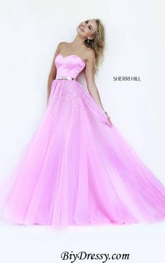 Sherri Hill 32135 Strapless Sequins Pink Prom Dress