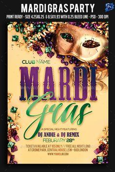 Mardi Gras Party Flyer Template PSD