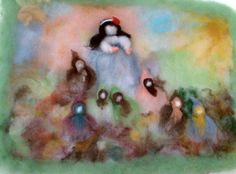 Needle Felted Picture Wall Art Snow White and the Seven Dwarfs Waldorf Style
