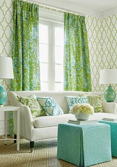 The most beautiful green and aqua room - gorgeous living room in blue and green House of Turquoise: Thibaut Green Rooms, Decor, French Country Living Room, Living Room Green, Home And Living, Interior, Living Decor, Home Decor, House Interior