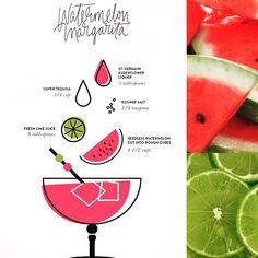 Il cocktail di stasera è Watermelon Margarita: anguria, lime, tequila. L'avete mai bevuto? Freschissimo! - Tonight's cocktail: watermelon margarita! Have you ever try it?