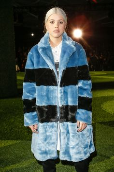Sofia Richie's oversized blue and black rugby-striped Marc by Marc Jacobs faux fur coat is smoking hot
