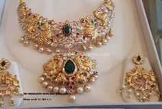 Ruby Emerald Necklace From Sri Mahalaxmi Gems & Jewellers ~ South India Jewels Jewelry Design Earrings, Gold Jewellery Design, Necklace Designs, Diamond Jewellery, Bridal Jewellery, Wedding Jewelry, Temple Jewellery, Gold Wedding, Jewelry Box
