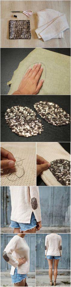Gold sparkle glitter elbow patch DIY sweater