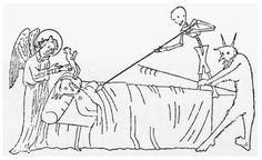 El diablo con un personal de enganche y la muerte a sí mismo con el lucio de un soldado están tratando de atrapar el alma de este hombre moribundo.  El alma amenazado, representado como una persona pequeña, ora en busca de ayuda como un ángel ofrece protección.  representaciones Ars Moriendi como esta ilustración manuscrito del siglo XIV Inglaterra advirtió a los creyentes que tienen que vivir la buena vida o la cara horrible castigo después de la muerte.  Dover Publications, INC.
