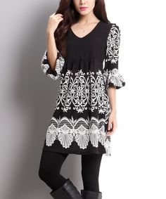 b88e3647fb6 Reborn Collection Black Lace Print Empire-Waist Bell Sleeve Dress