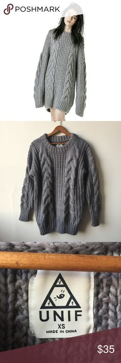 UNIF Chunky Gray Oversized Cable Knit Sweater Very good used condition, some light pulling but not bad at all and hardly noticeable when worn. Marked XS, has a very oversized fit and would also work great on size small. 100% acrylic. UNIF Sweaters Crew & Scoop Necks