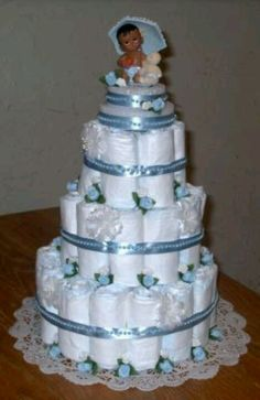 Blue 3 Tiered Diaper Cake: How To Make This Blue 3 Tiered Cake What Joy It  Is To Create A Lovely Memory And (work Of Art) For A Friend.