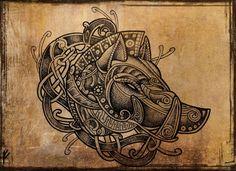 Viking style boar's head. Artwork by Fernando Amador