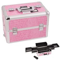 Sunrise Pink Interchangeable Easy Slide Tray Crocodile Textured Printing Professional Aluminum Cosmetic Makeup Case With Dividers - E3301 >>> Check out this great product.