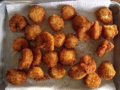 Broiled Hibiscus: seafood fry (scallops and jumbo shrimp) Fried Shrimp Recipes, Catfish Recipes, Seafood Boil Recipes, Clam Recipes, Cooking Recipes, Deep Fried Scallops Recipe, Bay Scallop Recipes, Birthday Dinner Recipes, Seafood Dinner