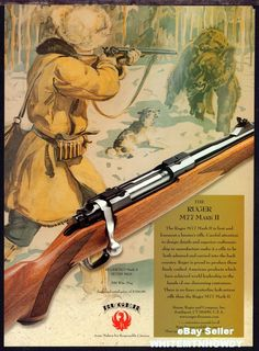 2000 RUGER M77 Mark II M77RS MKII RIFLE AD Bear Hunting Art Vintage Advertising