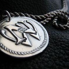Wedding Monogram Pendant Medallion In Fine Silver, With Sterling Silver French Rope Chain by Jennifer Vestal 25th Anniversary Gifts, Silver Anniversary, Monogram Wedding, Monogram Logo, Monogram Jewelry, Pendant Design, Gifts For Her, Pendants, Pendant Necklace
