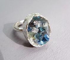 Kelvin J Birk, Ice blue box-cast ring in silver