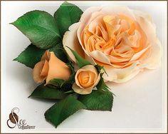 Абрикосовая пионовидная роза из зефирного фоамирана мастер-класса