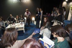 La Responsable de Comunicación Montse Martinez y la Responsable Comercial Mª Eugenia Arolo en la presentación de la línea ASPOLVIT Anti-Aging a los medios de comunicación en la Sala Vip de la Pasarela Barcelona Bridal Week 2013.