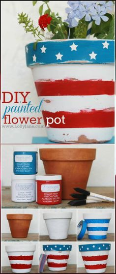 DIY Painted Patriotic Flower Pot - 30 DIY of July Decorations - Patriotic DIY Fourth of July Decor Projects (Diy Painting Pots) 4th July Crafts, Fourth Of July Decor, 4th Of July Decorations, Patriotic Crafts, 4th Of July Party, July 4th, Camping Decorations, Fourth Of July Crafts For Kids, Patriotic Wreath