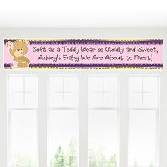 Adorable Baby Girl Teddy Bear banner that can be used for a #babyshower! #BigDotOfHappiness #HappyDot #Bearbabyshower