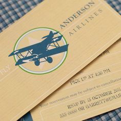Vintage Plane Invitation Birthday (Customized) from the Vintage Airplane DIY Printable Collection by Spaceships and Laser Beams. $12.00, via Etsy.