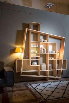 Creative Bookshelves, Bookshelf Design, Wall Shelves Design, Wall Design, Brick Design, Corner Shelves, Modular Home Office Furniture, Wood Furniture, Furniture Design