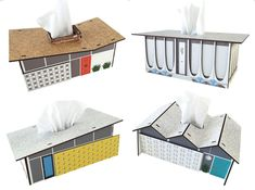 Tissue box covers styled like midcentury modern architecture / Boing Boing
