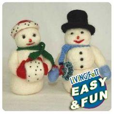 Needle Felting Kit: Snow Man Modeled after a vintage postcard