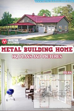 Metal Building Home w/ Awesome Wrap-around Porch. Another awesome metal building. - Metal Building Home w/ Awesome Wrap-around Porch. Another awesome metal building. Morton Homes, Morton Building Homes, Metal Building Homes, Metal Homes, Building A Pole Barn, Pole Barn House Plans, Pole Barn Homes, Building A House, Barn Plans