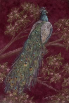 Peacock painting by Sandra Poirier.