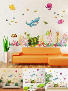 [Visit to Buy] 3D underwater world fish PVC interior wall stickers for kids rooms creative personality waterproof home decor 1037 wall decals #Advertisement